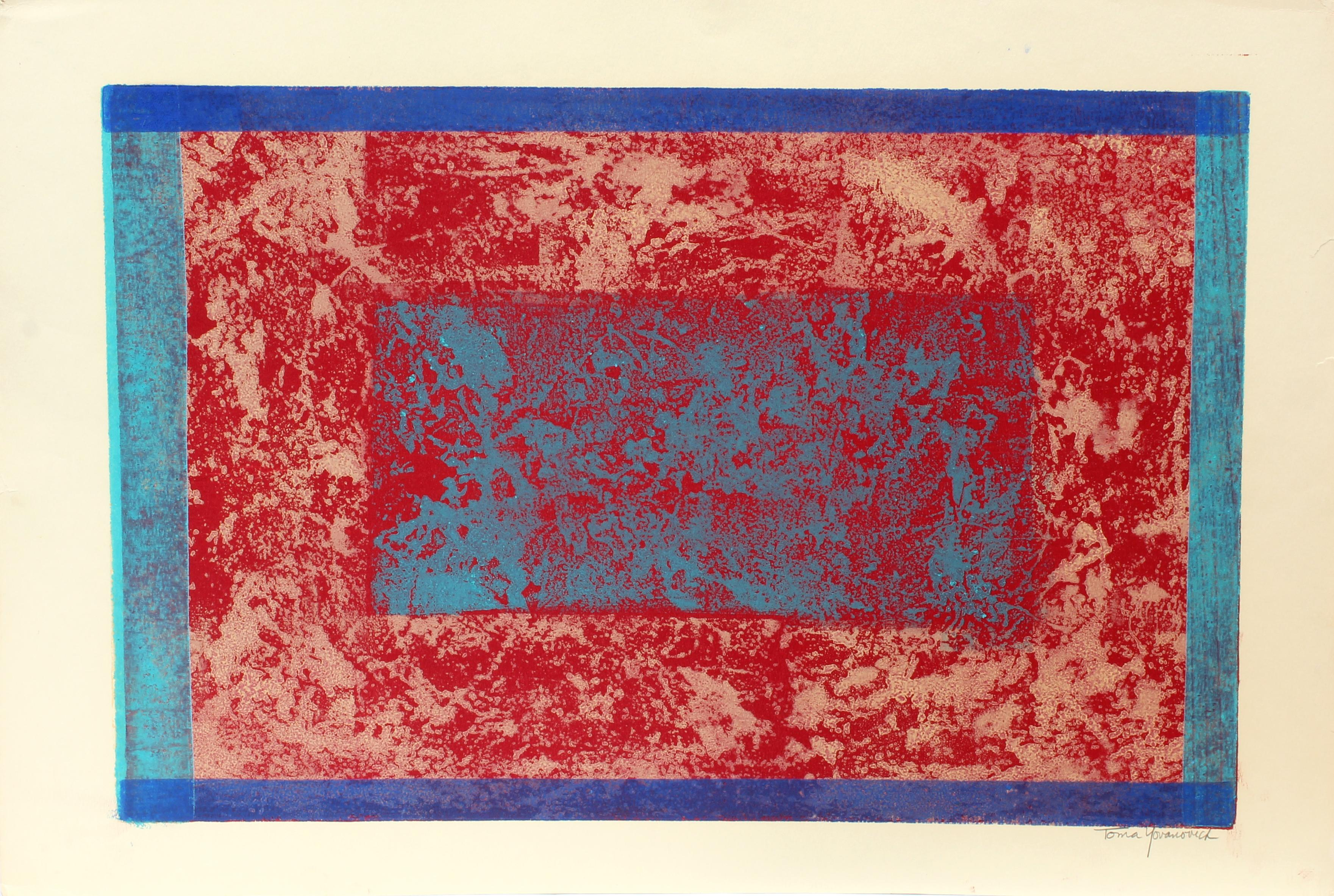 American Mid Century Abstract Monotype Print Abstract Colorful 1960