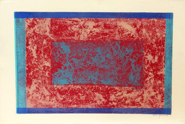Toma Yovanovich Abstract Print - American Mid Century Abstract Monotype Print Abstract Colorful 1960
