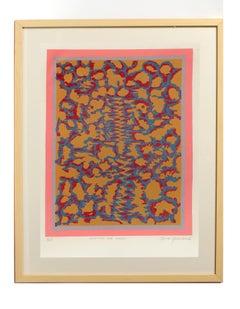 Mid Century 1960's Original Geometric Abstract Neon Woodblock Toma Yovanovich