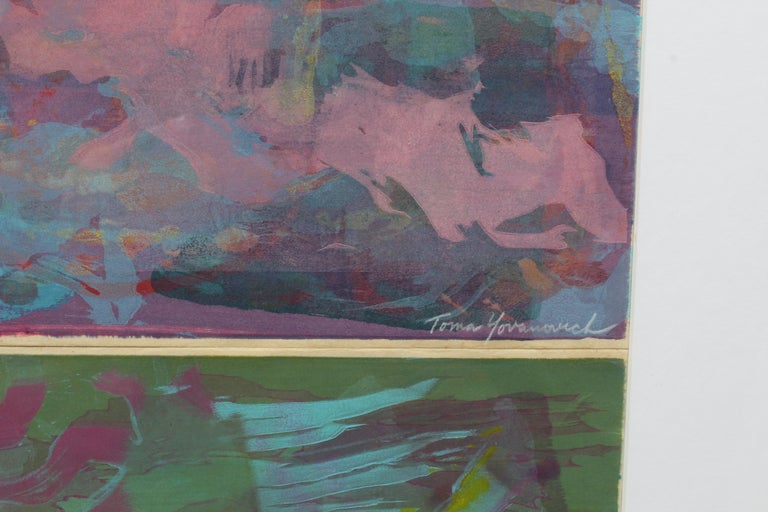 Toma Yovanovich Diptych Monotype Pair Prints Framed 1960 3