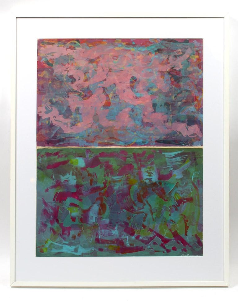 Toma Yovanovich Diptych Monotype Pair Prints Framed 1960 - Gray Abstract Print by Toma Yovanovich