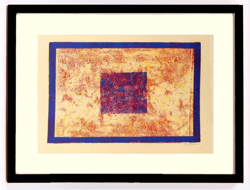 Toma Yovanovich Mid Century Monoprint Painting Untitled (Prime Squares)