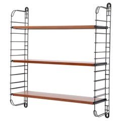 Tomado Industrial Teak Shelving with Black Risers