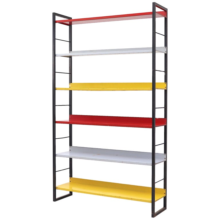 Tomado Multicolored Enameled Metal Standing Book Shelf For Sale