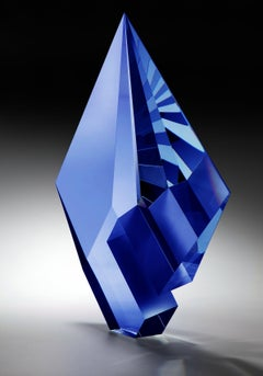 Blue Composition, Cast, Cut  and Polished Glass Sculpture