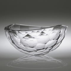 Crystal Cut Bowl, Cast, Cut  and Polished Glass Sculpture