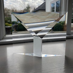 """Crystal Reflection"" Tomas Brzon, Cast, Cut, Polished, Optic Glass Sculpture"