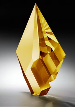 Gold Amber Composition, Cast, Cut  and Polished Glass Sculpture