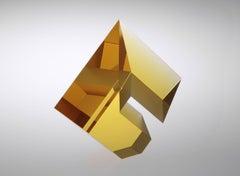 """""""Gold Amber Composition Large1 1"""" Tomas Brzon, Cast, Cut,  Optic Glass Sculpture"""