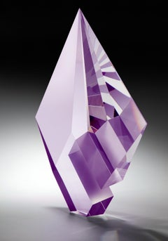 Purple Composition, Cast, Cut  and Polished Glass Sculpture