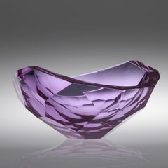 Purple Cut Bowl, Cast, Cut  and Polished Glass Sculpture