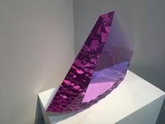"""""""Purple Flint"""" Tomas Brzon, Cast, Cut, Polished, Optic Glass Sculpture"""