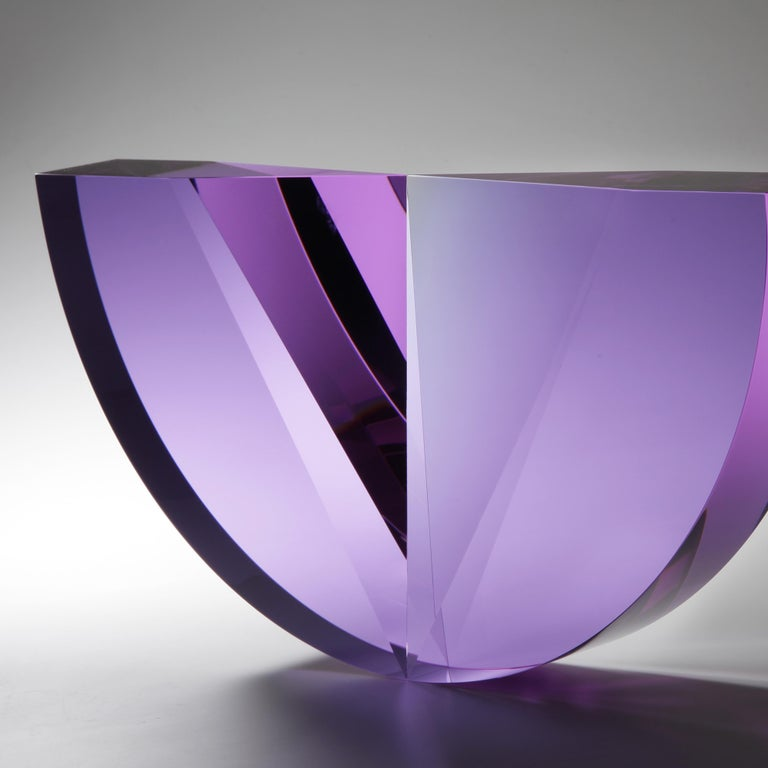 Tomas Brzon work captures the nature of the glass, by using its primary attributes. He works with the simple geometrical shapes, reflections and optical illusions. Using combinations of the cast, cut  and polished glass surfaces. Brzon's objects are