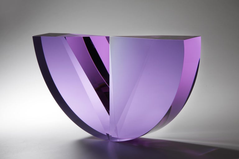 "Tomas Brzon Abstract Sculpture - ""Purple Tapered Semicircle"" Cast, Cut  and Polished Glass Sculpture"