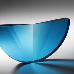 Turquoise Tapered Semicircle, Cast, Cut  and Polished Glass Sculpture
