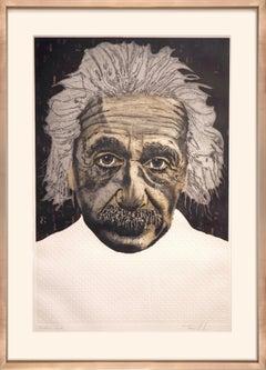 Einstein WS #83 (unique etching, intaglio, iconic figure, historic, textural)