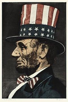 The Inauguration ws 50 (portrait, Lincoln, American flag, black)