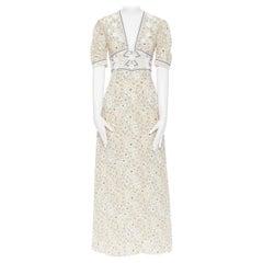 TOMAS MAIER 100% silk beige floral illustration print tulle applique dress
