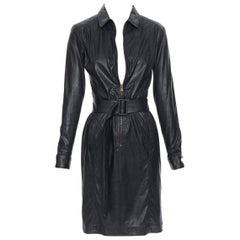 TOMAS MAIER black faux leather zip front belted dress US2  XS