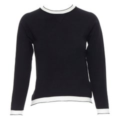 TOMAS MAIER black viscose polyester knit white sheer ribbed sweater top XS