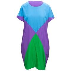 Tomas Maier Purple & Multicolor Silk Color Block Dress