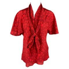 TOMAS MAIER Size 4 Burgundy & Red Print Silk Self Tie Blouse