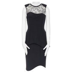 TOMAS MAIER viscose blend navy black stripe cap sleeve fit flare dress US0