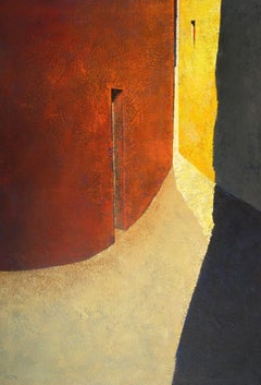Estrip - 21st Century, Contemporary, Painting, Oil on Canvas, Yellow, Terracotta