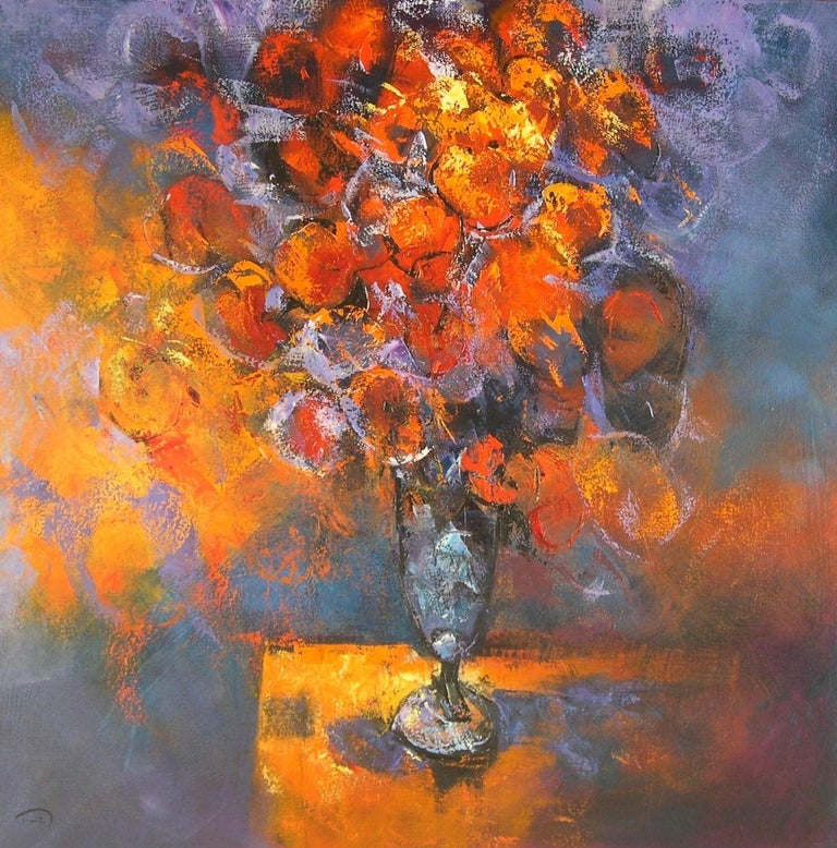 Tomàs Sunyol Figurative Painting - Flors al Cava - 21st Century, Contemporary, Still Life, Oil Painting, Flowers