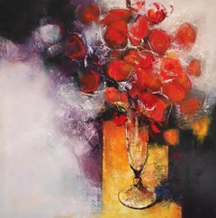 La Post - 21st Century, Contemporary, Still Life, Oil Painting, Red Flowers