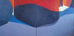La Rue Rouge - 21st Century, Contemporary, Painting, Oil on Canvas, Diptych