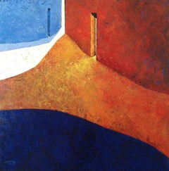 Passeig del Llac - 21st Century, Contemporary, Oil Painting, Orange, Blue