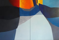 Streets - 21st Century, Contemporary, Painting, Oil on Canvas, Diptych