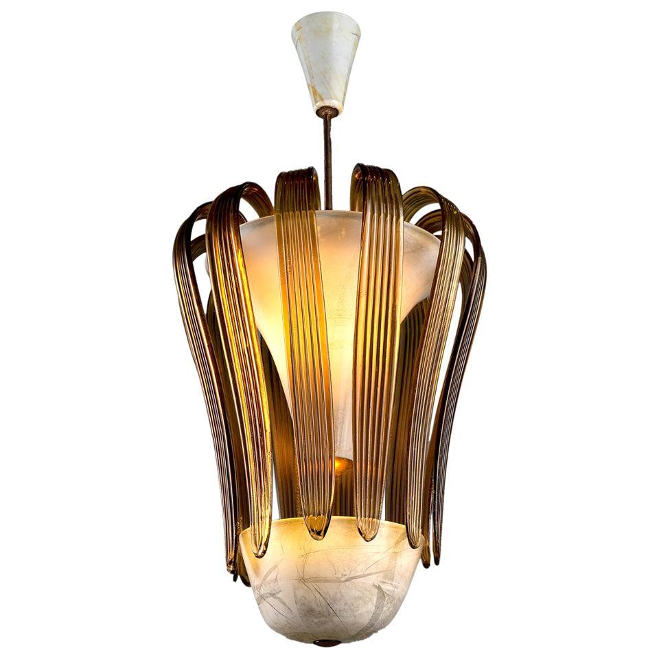 Tomaso Buzzi Ceiling Lamp in Murano Glass by Venini, 1930 circa