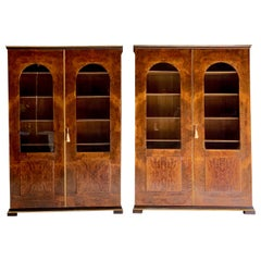 Tomaso Buzzi Pair of Burr Walnut Display Cabinets Bookcases, Italy, circa 1929