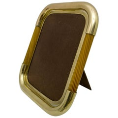 Tommaso Barbi Midcentury Italian Brass and Murano Glass Picture Frame, 1970s