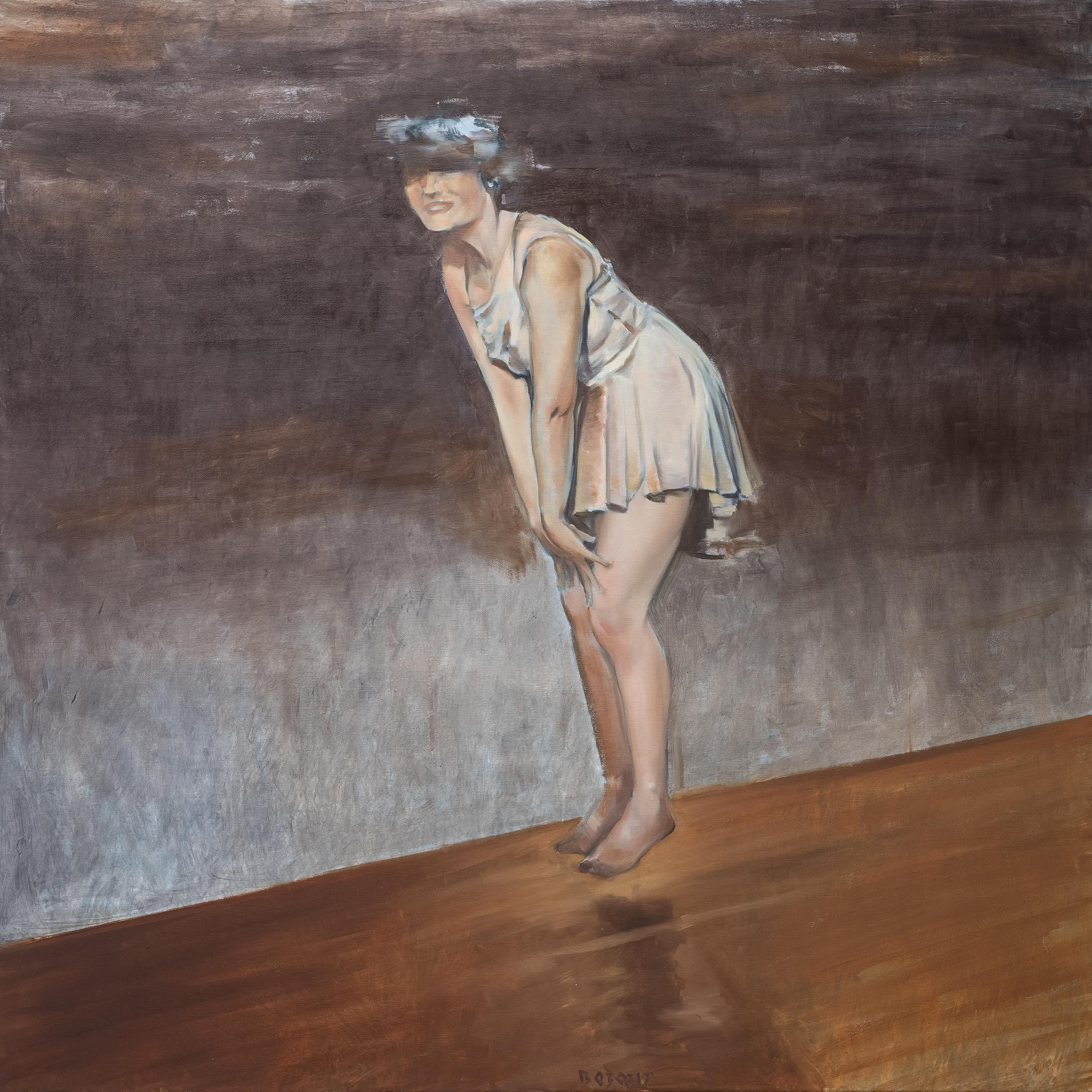 Euphoria -Jumping Woman - Contemporary Figurative Oil Painting, Woman Portrait