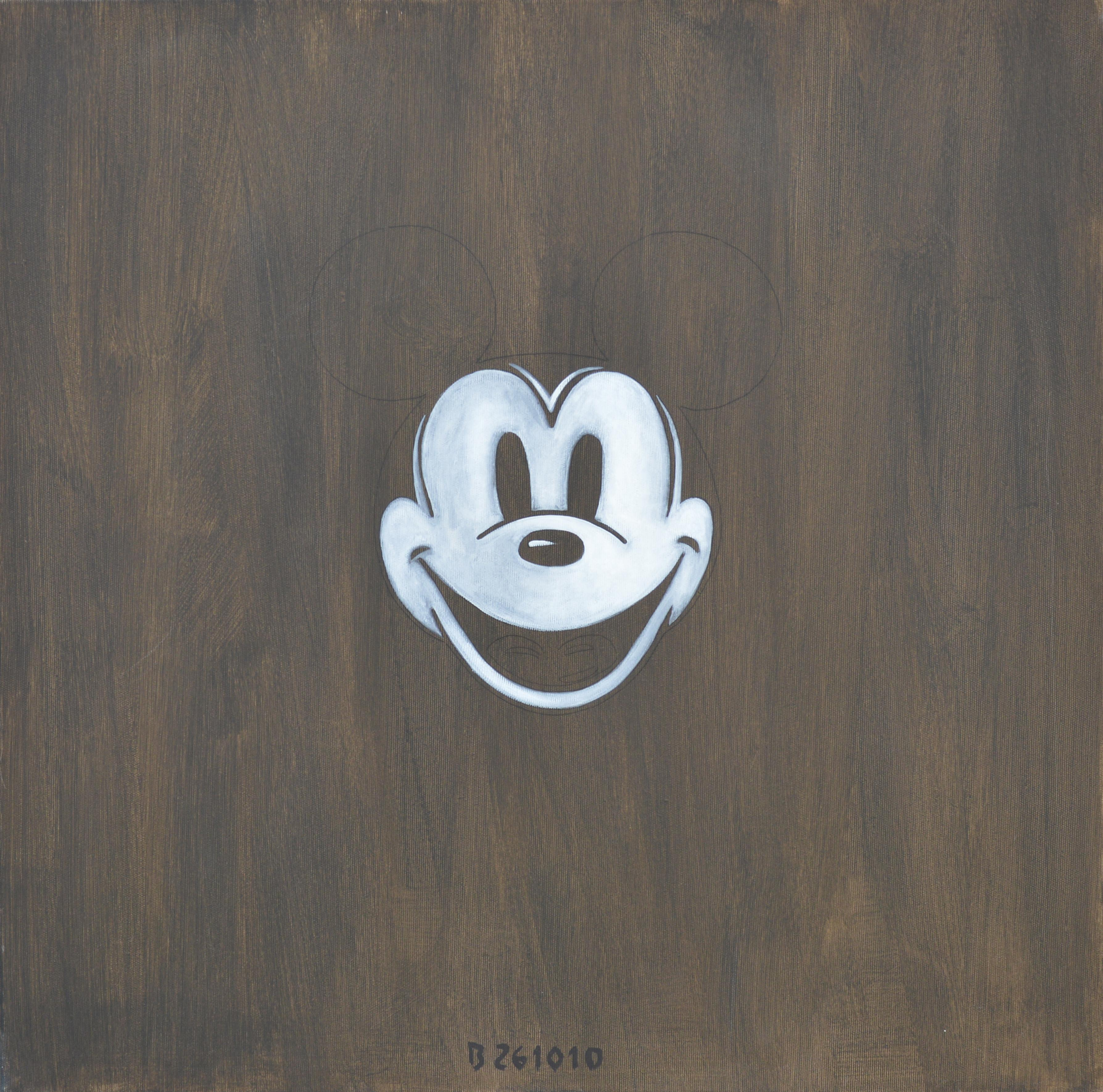 Mickey Mouse MM Post-Mortem Mask, Contemporary Figurative Oil Painting, Realism