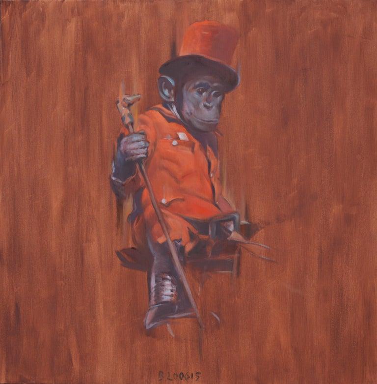 Tomasz Bielak Figurative Painting - Monkey on Horseback - Contemporary Figurative Animals Oil Painting, Realism