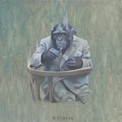 Monkey with a Cigarette I - Contemporary Figurative Animals Oil Painting