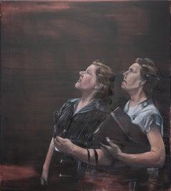Nosiness - Contemporary Figurative Oil Painting, Woman Portrait