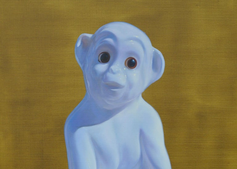 Porcelain Monkey - Contemporary Figurative Animals Oil Painting, Photorealism - Brown Figurative Painting by Tomasz Bielak