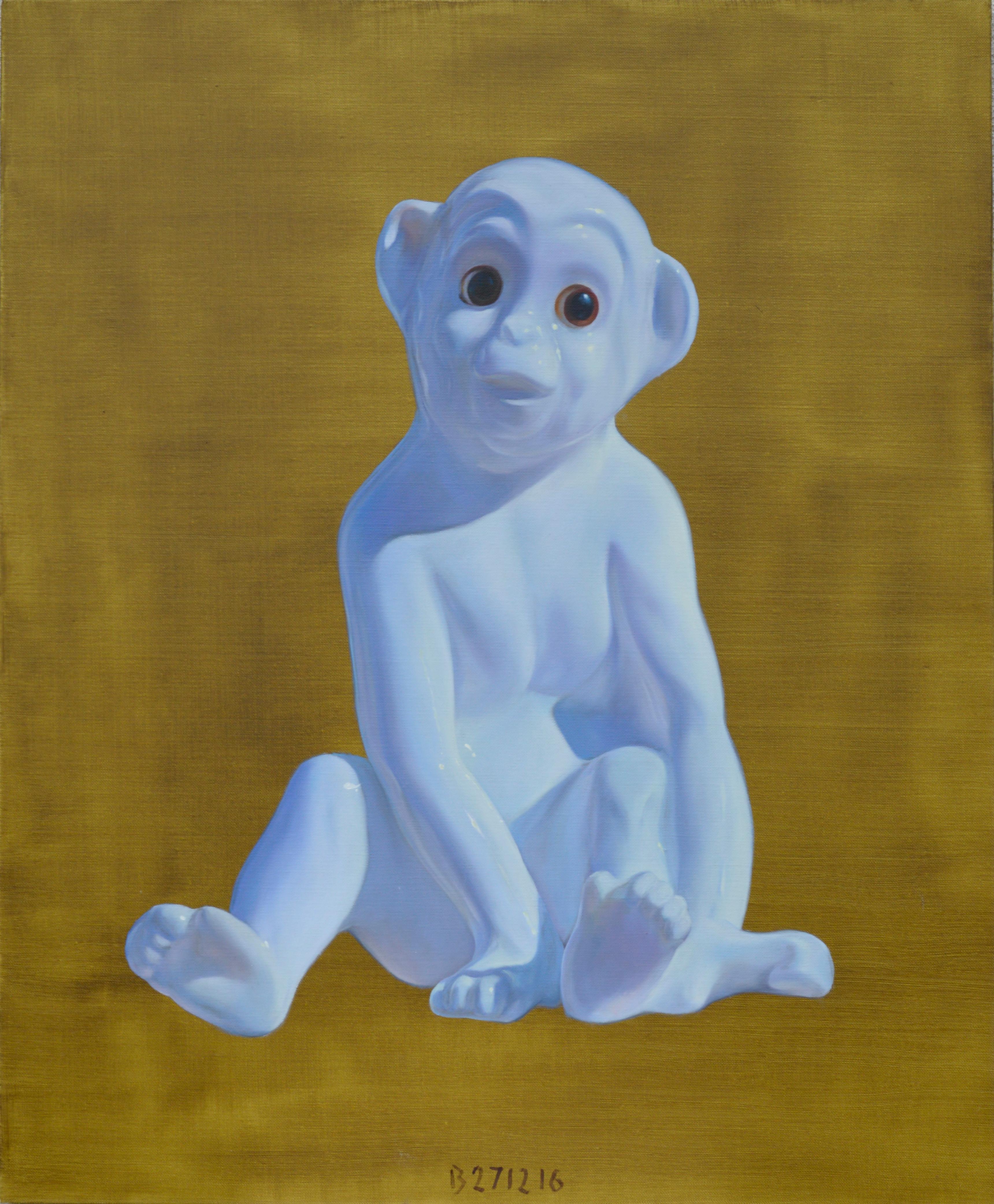 Porcelain Monkey - Contemporary Figurative Animals Oil Painting, Photorealism
