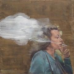 Walk With A Cigarette - Contemporary Figurative Oil Painting, Woman Portrait