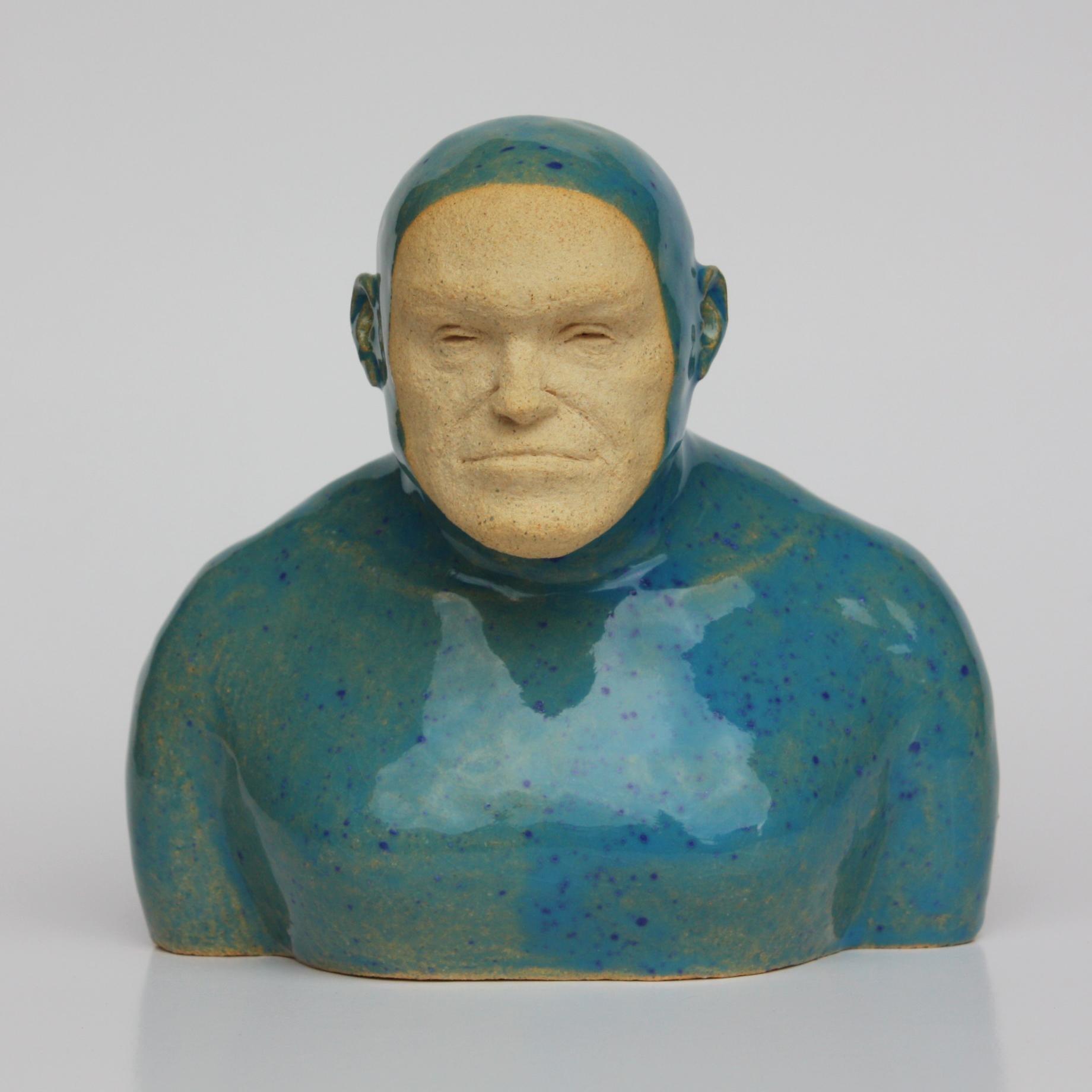 Blue Swimmer - Contemporary Handmade Glazed Ceramics Sculpture , Man Portrait