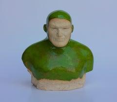 Green Swimmer - Contemporary Handmade Glazed Ceramics Sculpture , Man Portrait