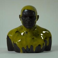 Lemon Swimmer - Contemporary Handmade Glazed Ceramics Sculpture , Man Portrait