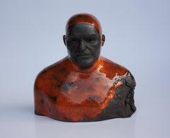 Orange Swimmer - Contemporary Handmade Glazed Ceramics Sculpture , Man Portrait