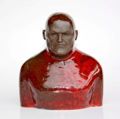 Red Swimmer - Contemporary Unique Handmade Glazed Ceramics Sculpture,  Portrait