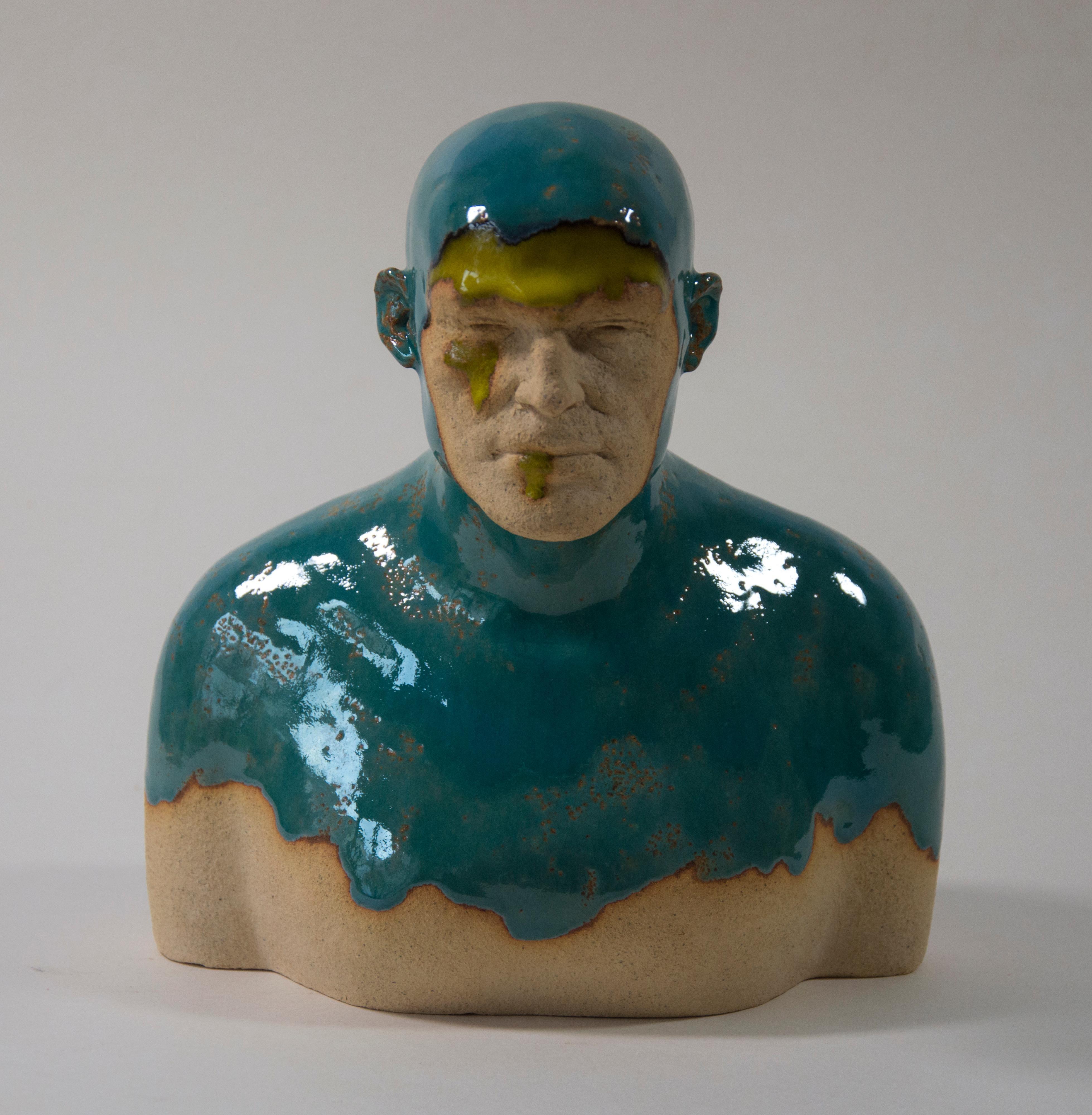 Turquoise  Swimmer - Contemporary Handmade Glazed Ceramics Sculpture , Portrait